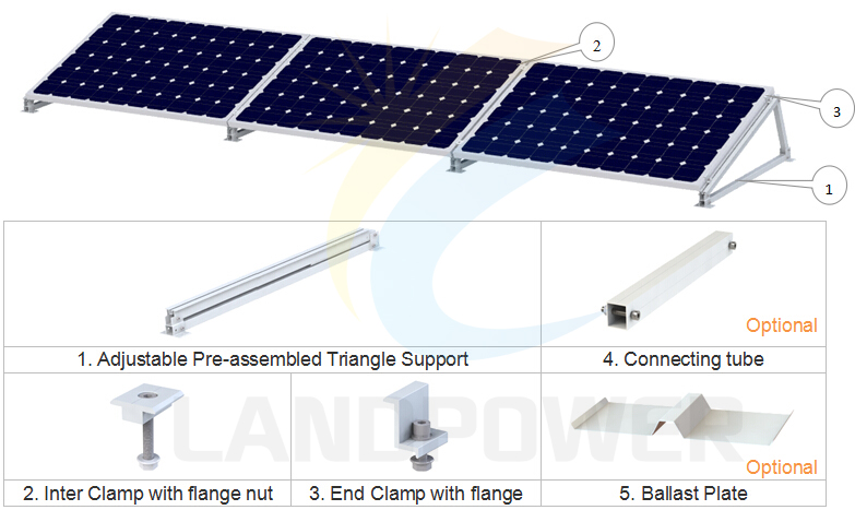 Adjustable Landscape Mounting Flat Roof Mounting System